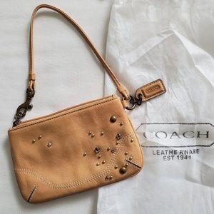 Coach Tan Wristlet Embellished Stones + Dust Bag